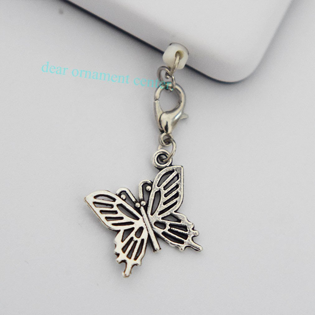 Silver Butterfly Charms - Cell Phone Dust Plug/ Earphone Jack Plug ,Anti-dust Plug Ear Cap 3.5mm for Iphone Ipod.samsung, Nokia and Htc