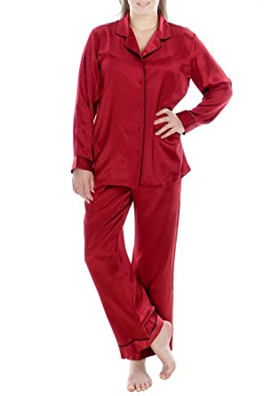 39418acfae9f OSCAR ROSSA Women s Luxury Silk Sleepwear 100% Silk Pajamas Set Burgundy