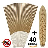 Mosquito Repellent Sticks - All Natural Insect Repellent Incense Sticks - Eco friendly - non toxic - Bamboo Infused with Lemongrass & grapefruit peel (Pack of 40)