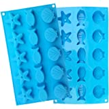 Yunko 15 Cavity Ice Tray Starfish Shell Fish Silicone Mold Style Ice Mold Chocolate Pudding Candy Mold