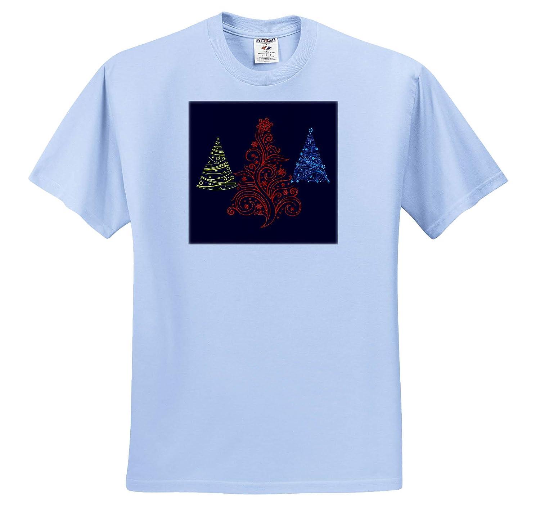Three Decorative Colorful Christmas Trees on Dark Blue Background 3dRose Alexis Design T-Shirts Holidays Christmas