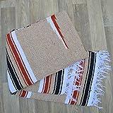 Galaxy Reborn Mexican Blanket Diamond Falsa XLarge 78 X 56 Beige Rust Grey Handwoven HEAVYWEIGHT Premium Throw Yoga Bohemian Indian Tribal Rug Southwestern