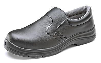 b-click Schuhe Mikrofaser Slip auf Sicherheit Schuh Schwarz aSxRjZsjAF