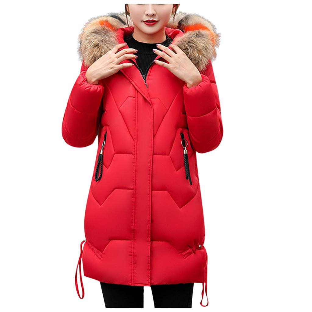Dainzuy Womens Down Coat with Fur Hood Thickened Long Down Jacket Winter Warm Hooded Parka Puffer Jacket Red by Dainzuy Womens Outerwear