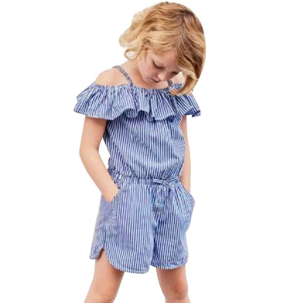 HANANei Baby Jumpsuit Romper, Toddler Kid Baby Girls (18M-5T) Sleeveless Ruffles Striped Overall Jumpsuit Pants (12-18 M, Blue)