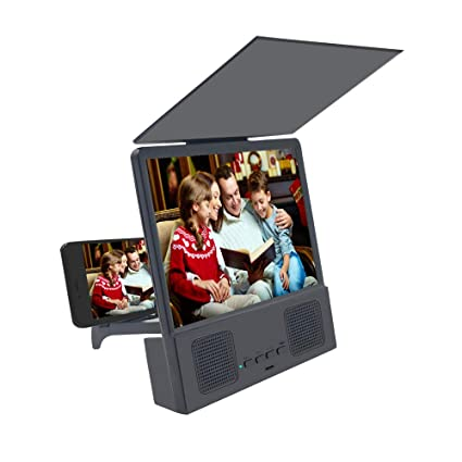 Jushi 8 Inches Screen Magnifier 3d Smart Mobile Phone Movies Amplifier With Bluetooth Speaker Hd Protable Phone Projector With Foldable Holder Stand