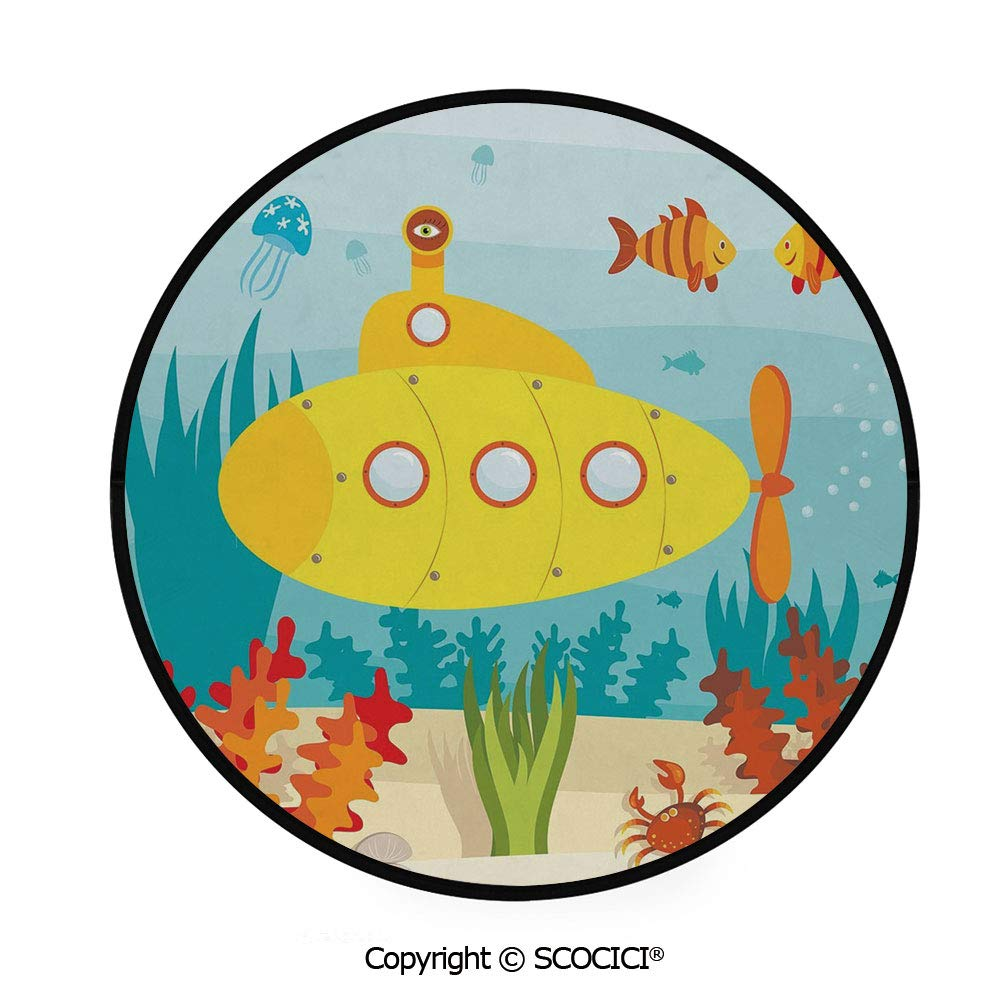 Scocici Round Area Rugs Super Soft Living Room Bedroom Carpet Round Area Mat Black Edging Yellow Submarine Decor Sea Life Theme Submarine Fish And A Crab 36 2 Diameter Amazon In Garden Outdoors