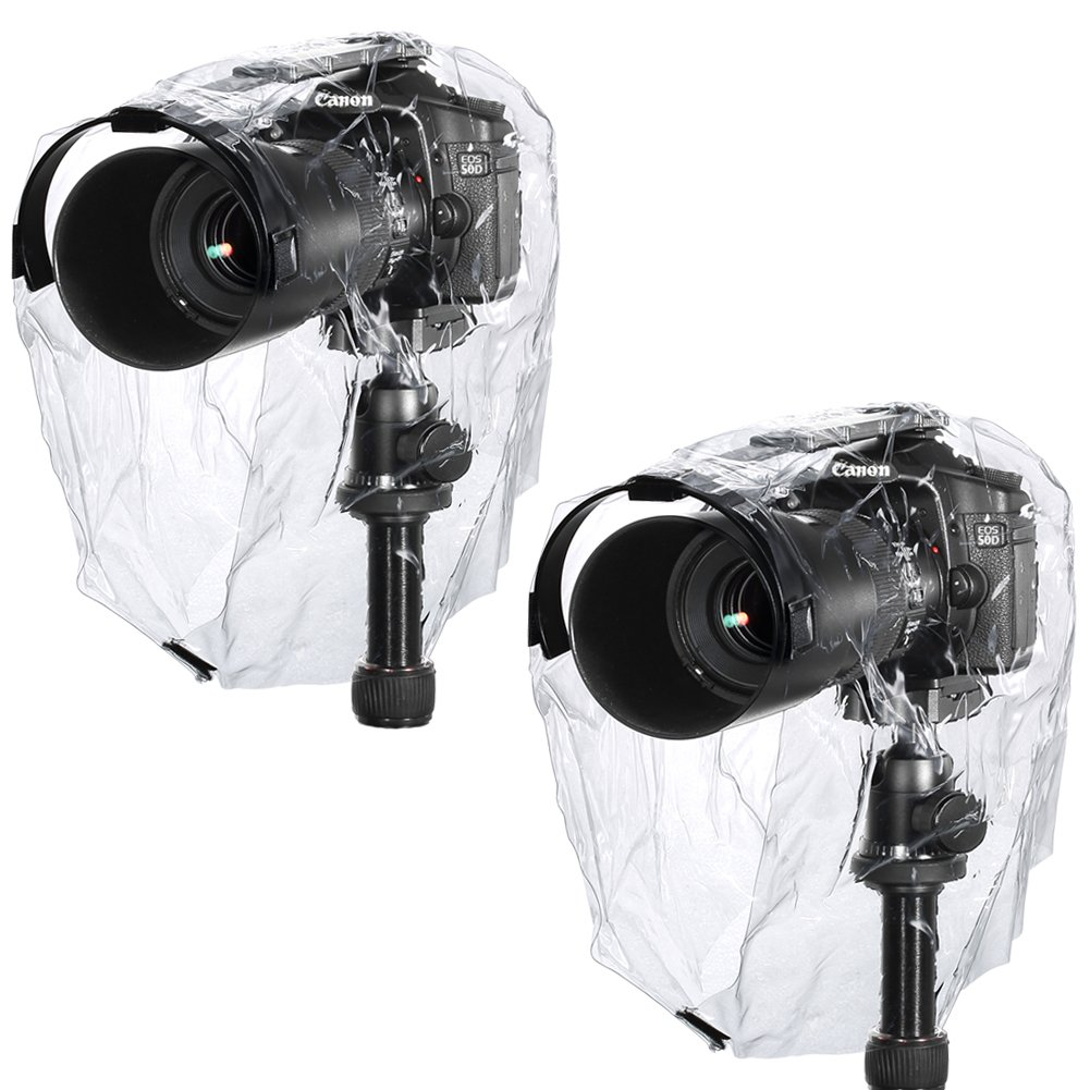 Neewer Rain Cover Coat Dust-proof Water-proof Camera Protector Rainwear for Canon Nikon Sony Samsung Pentax Olympus Fuji and Other DSLR Cameras (2 Pieces) by Neewer