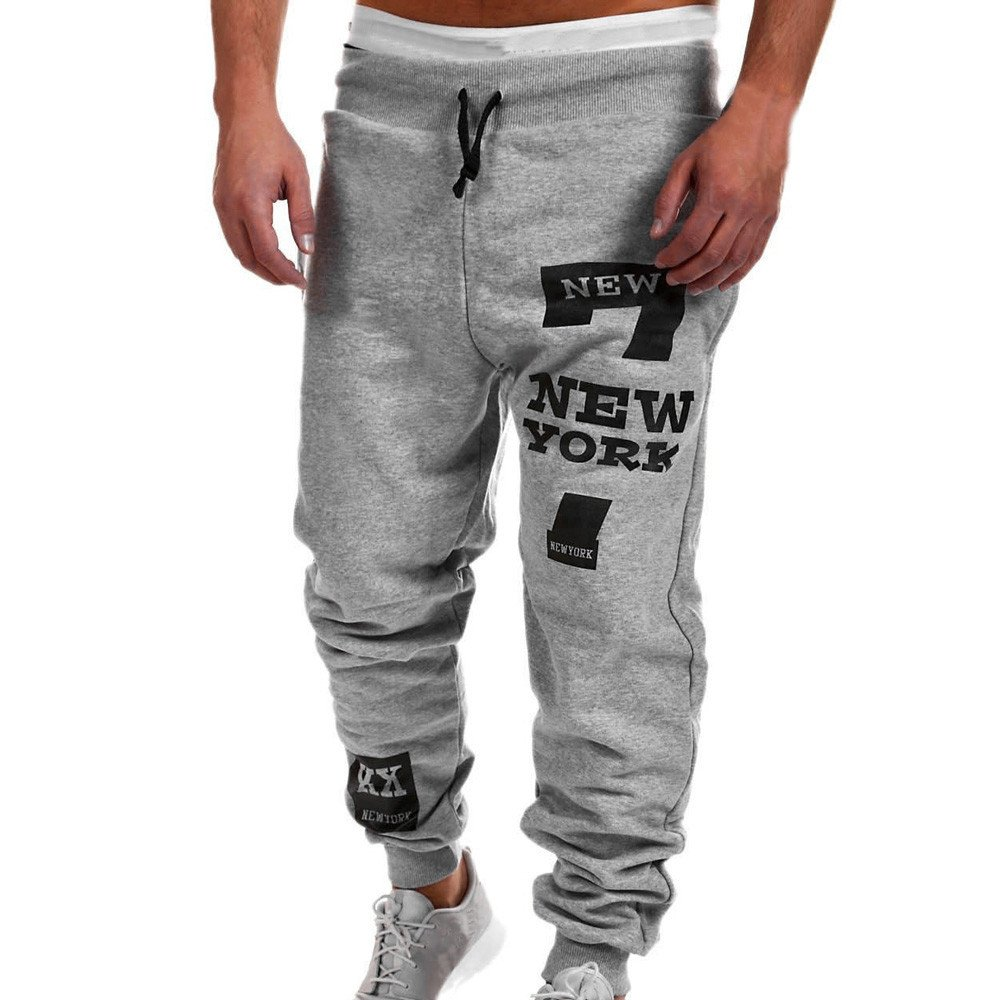 Emerayo Men's Casual Trousers Men's Solid Color Drawstring Letters Print Sweatpants Fall Winter Casual Pants