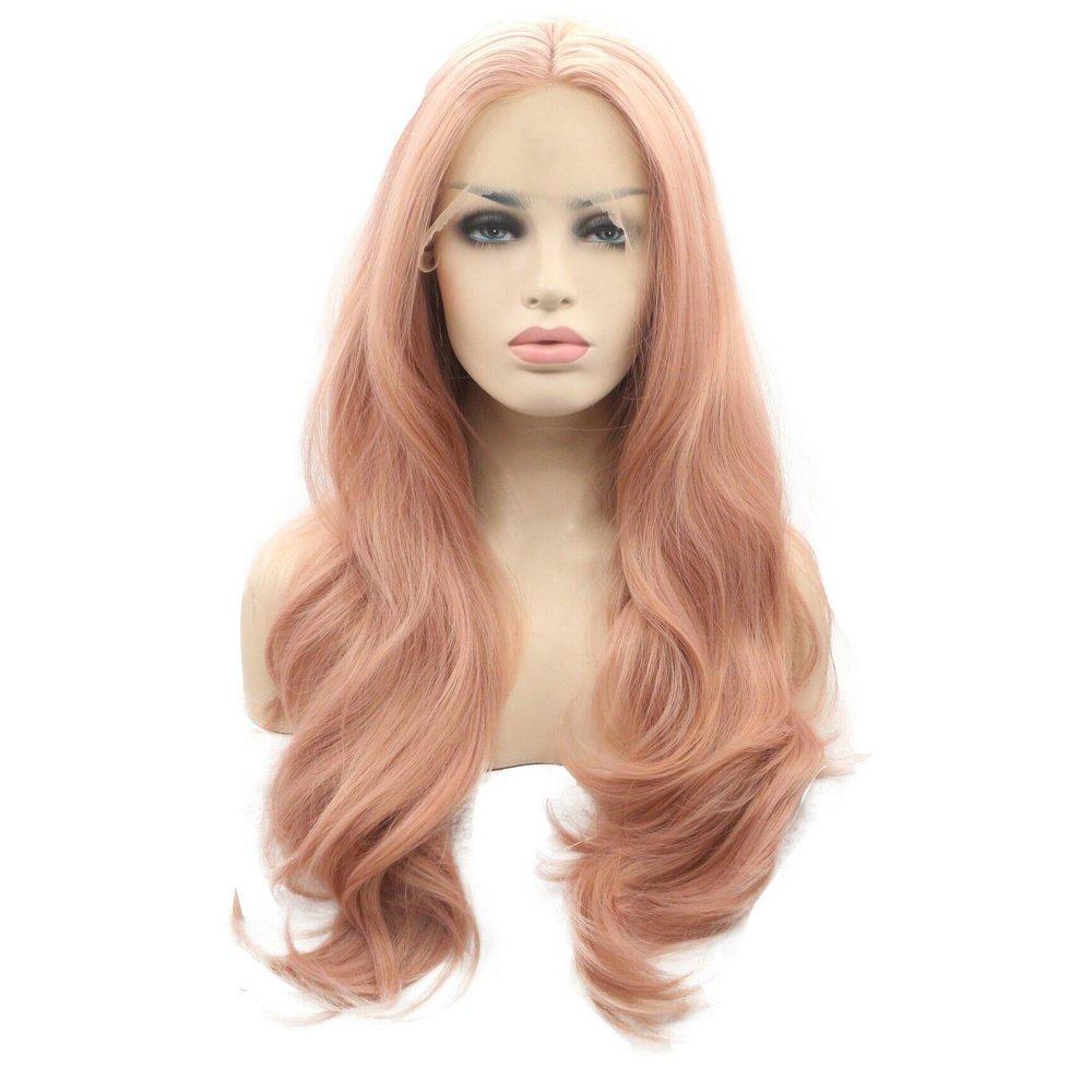 Rose Gold Long synthetic Glueless parte centrale capelli mossi pastello rosa pizzo anteriore parrucche Handmand per donne Girls Natural Hairline morbido capelli fibra resistente al calore per party 61cm come immagine Yes
