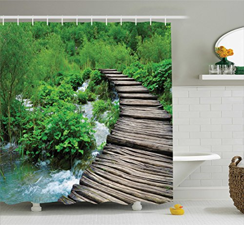 Ambesonne House Decor Collection, Path and Waterfall Board in Croatia Cascade Garden Lake Fence Peaceful View Picture, Polyester Fabric Bathroom Shower Curtain Set with Hooks, Green - Waterfall Cascade