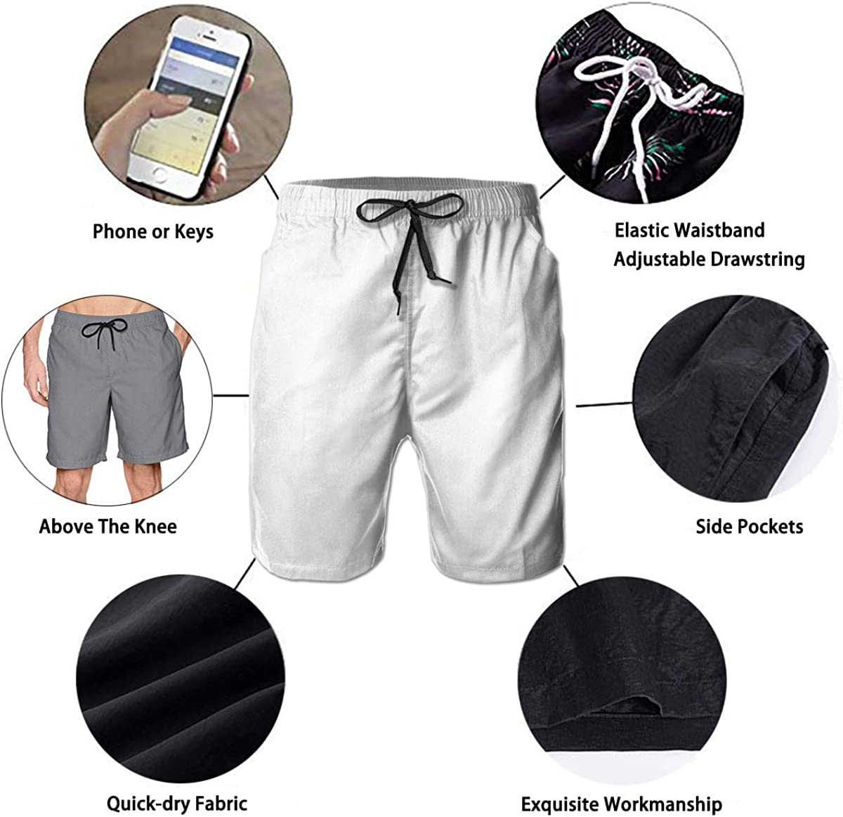 YongColer Quick Dry Casual Men Beach Shorts Swim Trunks Half Pants Give Thanks Happy Thanksgiving