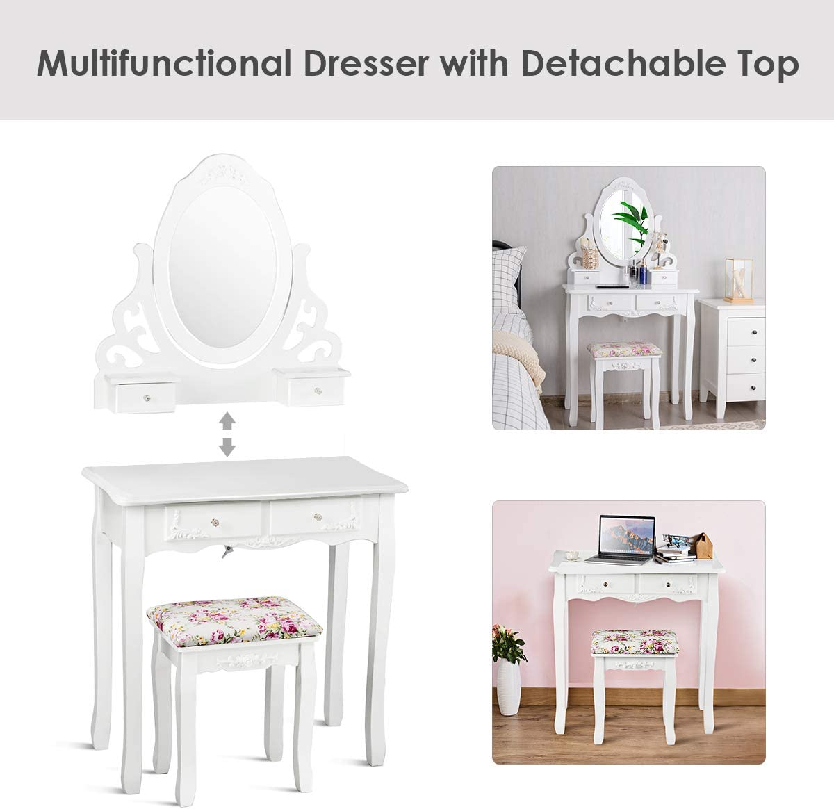 Giantex Vanity Dressing Table with Mirror and Stool, 360 Rotating Oval Makeup Mirror Classic Style Delicate Carved Cushioned Benches Wood Legs, Vanity Tables with Divided Drawers White