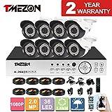 TMEZON 16CH AHD 1080P DVR Digital Video Recorder + 8x 1080P 2.0MP 2000TVL Outdoor Night Vision Bullet Camera Security Kit(No HDD)