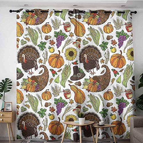 (AndyTours Grommet Curtains,Thanksgiving Pilgrims Hat Turkey,W108x108L)