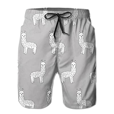 xj Men's Funny Alpaca Summer Beach Shorts Leisure Quick Dry Swimming Pants