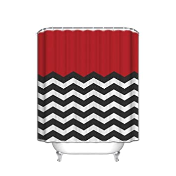 Superior Red Black And White Chevron   Shower Curtain Custom Made,66u0026quot; ...