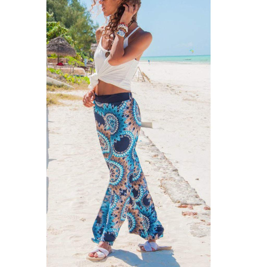 Pervobs Women Summer Casual Boho Floral Printing High Waist Wide Leg Pants Holiday Daily Loose Leggings Trouser(M, Blue) by Pervobs Women Pants (Image #5)