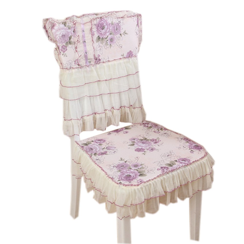 Country Style Chair Slipcover Lace Romantic Cover With Flowers, Purple
