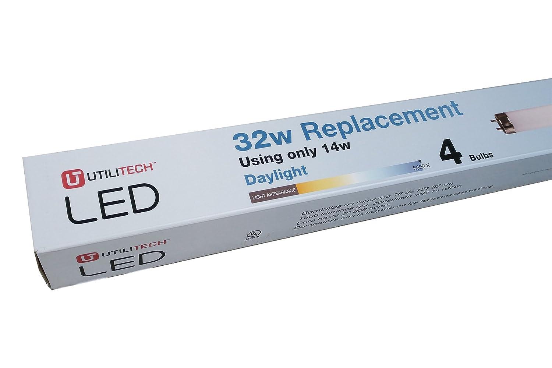 Amazon.com: Utilitech T81620F4-65 4-Pack 32 W Equivalent Daylight T8 LED Tube Light Bulbs: Electronics