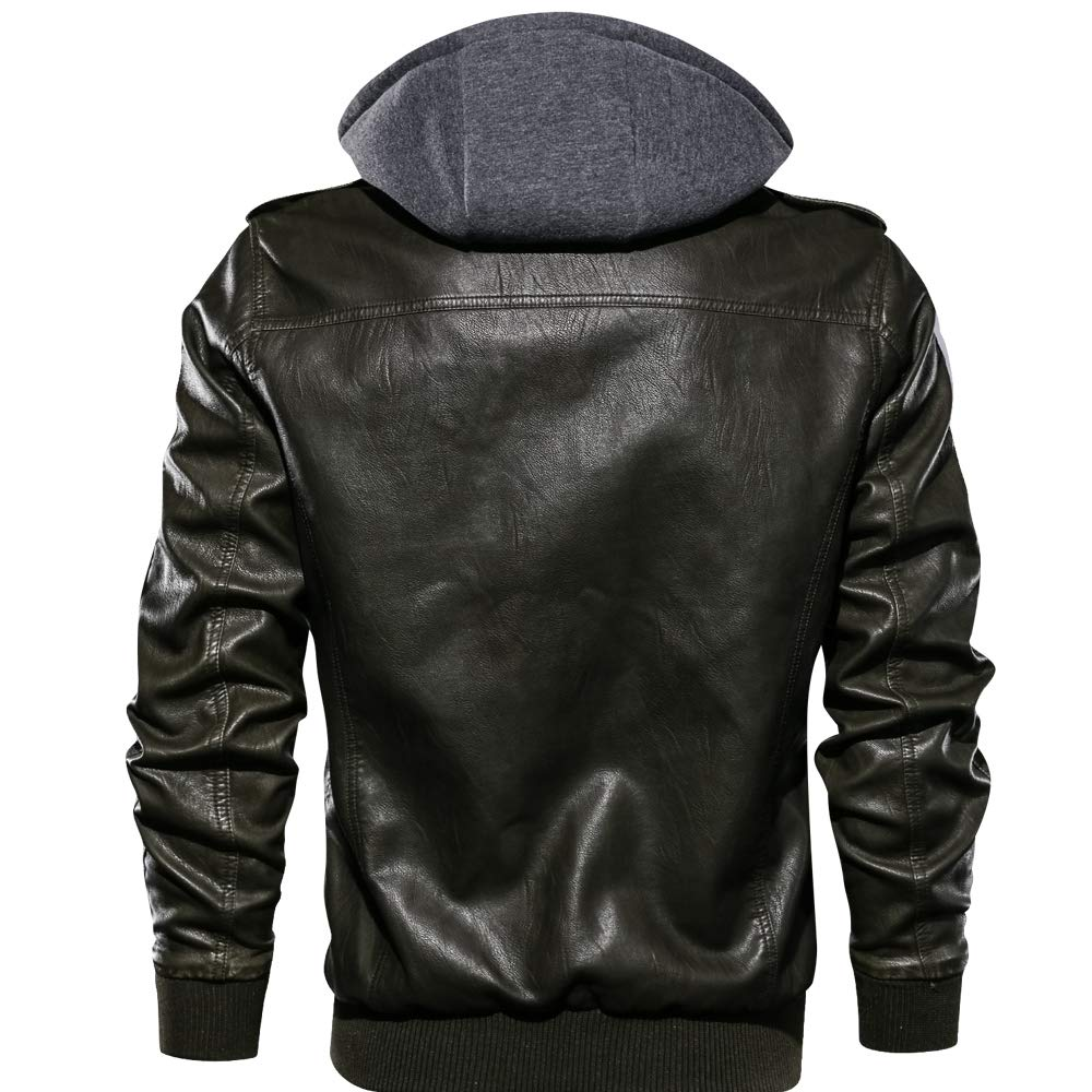 JYG Mens Stand Collar Faux Leather Motorcycle Jacket with Removable Hood