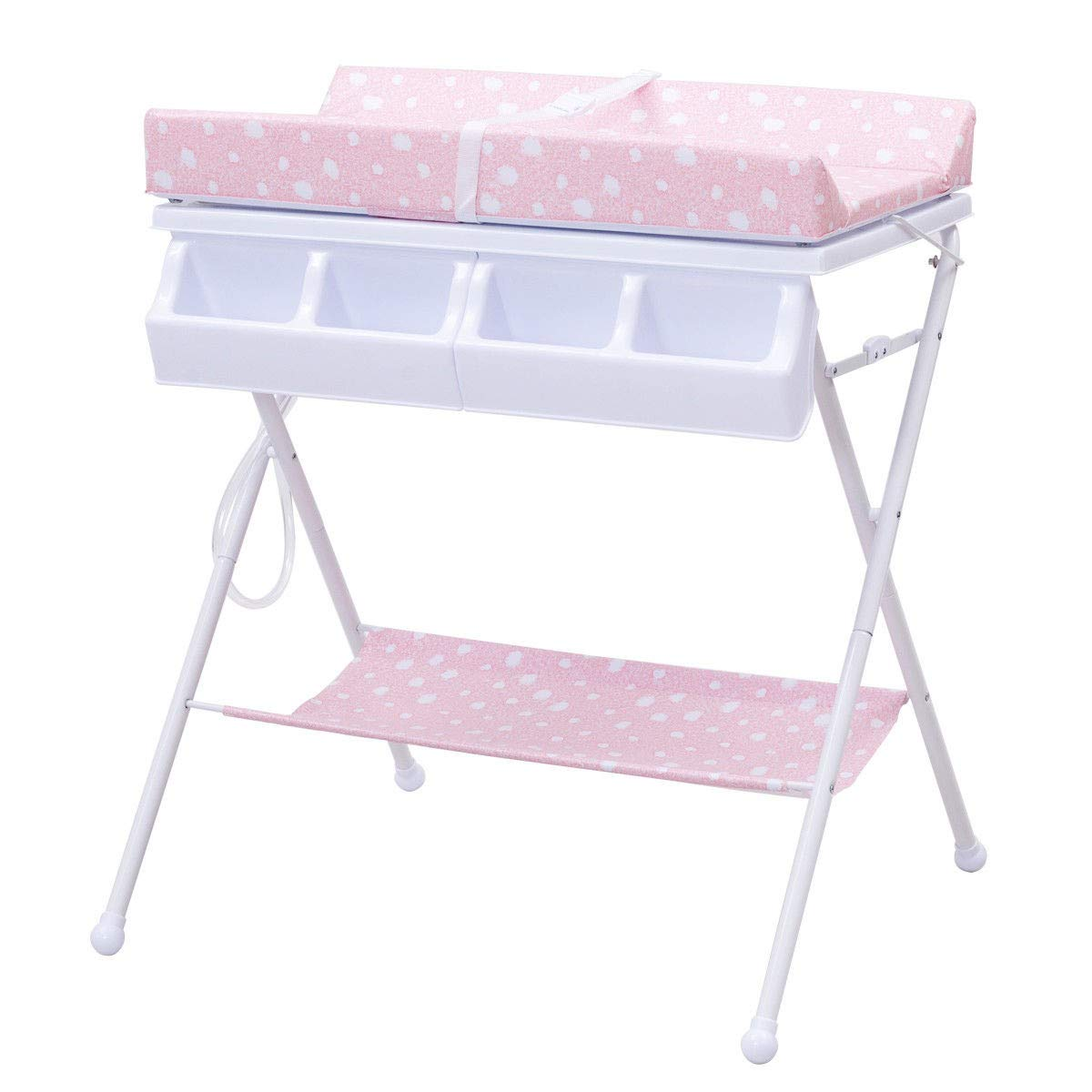 MD Group Foldable Infant Baby Bath Diaper Storage Changing Table, Pink