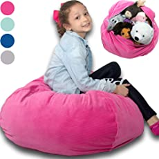 """Large Stuffed Animal Storage Bean Bag ❤️ """"Soft 'n Snuggly"""" Corduroy Fabric Kids Prefer Over Canvas - Replace Mesh Toy Hammock or Net - Store Blankets/Pillows Too - 4 Colors"""