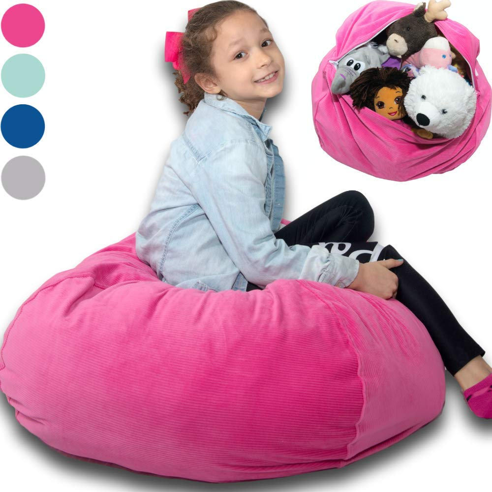 Large Stuffed Animal Storage Bean Bag ❤️ ''Soft 'n Snuggly'' Corduroy Fabric Kids Prefer Over Canvas - Replace Mesh Toy Hammock or Net - Store Blankets/Pillows Too - 4 Colors by BabyKeeps