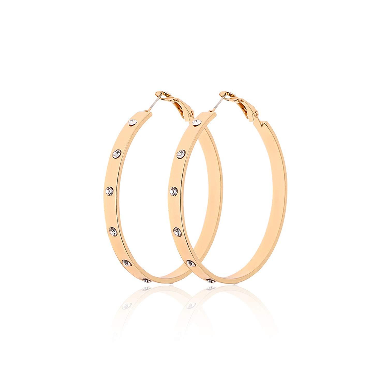 jiemi European and American Alloy Crystal Round Earrings Big Earrings European and American Fashion Personality Earrings