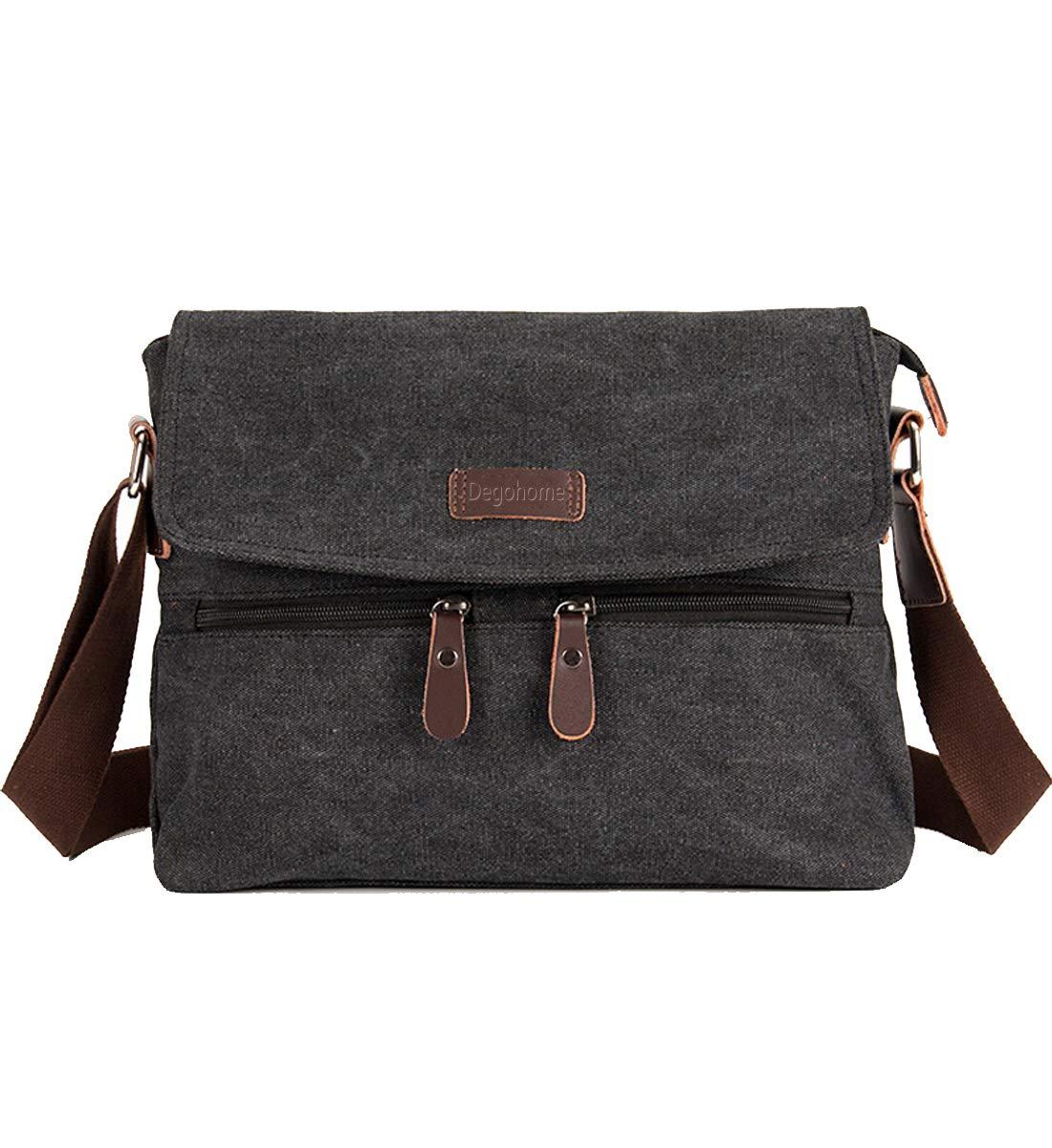 Degohome Canvas Satchel Bag Shoulder Bag Crossbody Sling Bag for Men and Women (black)