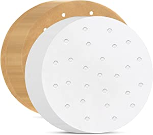 Round Air Fryer Liners, Set of 200 and 2 Colors, 8 Inch Air Fryer Parchment Paper/Bamboo Steamer Liners for Air Fryer, Steaming Basket and More(7.5/8/8.5/9/9.5in Optional)