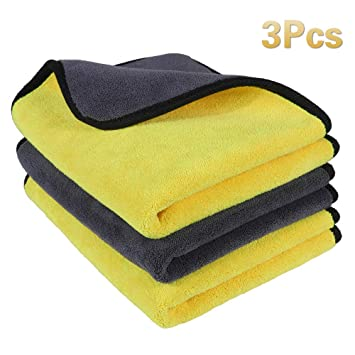5 PCS Home// Car Wash Towels Microfiber Polishing Waxing Washing Cleaning Cloths