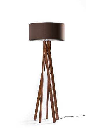 Hochwertige Design Stehlampe Tripod Mit Textil Schirm Aus Chintz In Creme  Braun Und Stativ/
