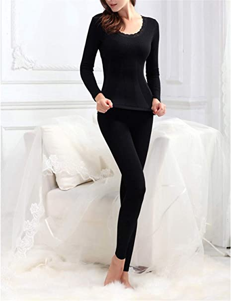 MRxcff Thermal Underwear Sets 2018 New Winter Women Modal Long Johns Stop and Pant Suit Sexy