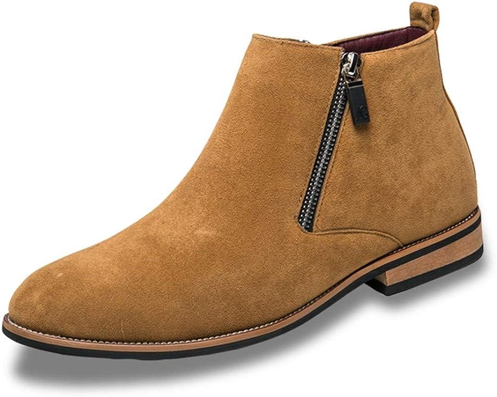 Botas de Invierno para Hombres Moda Punta de los Hombres Zapatos de Invierno Zip Tobillo Botas Hombres Ante Botas de Cuero