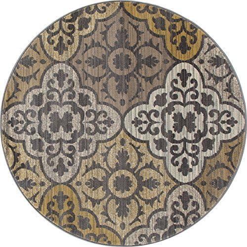 Art Carpet Arabella Collection Tilework Woven Round Area Rug, 8 , Yellow Gray Linen