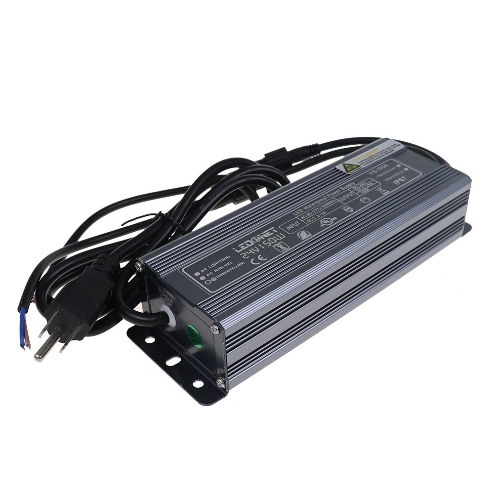 LEDENET 150 Watt Waterproof LED Power Suppply Driver Transformer Ac 90-130 Volt to 24 Volt DC Output