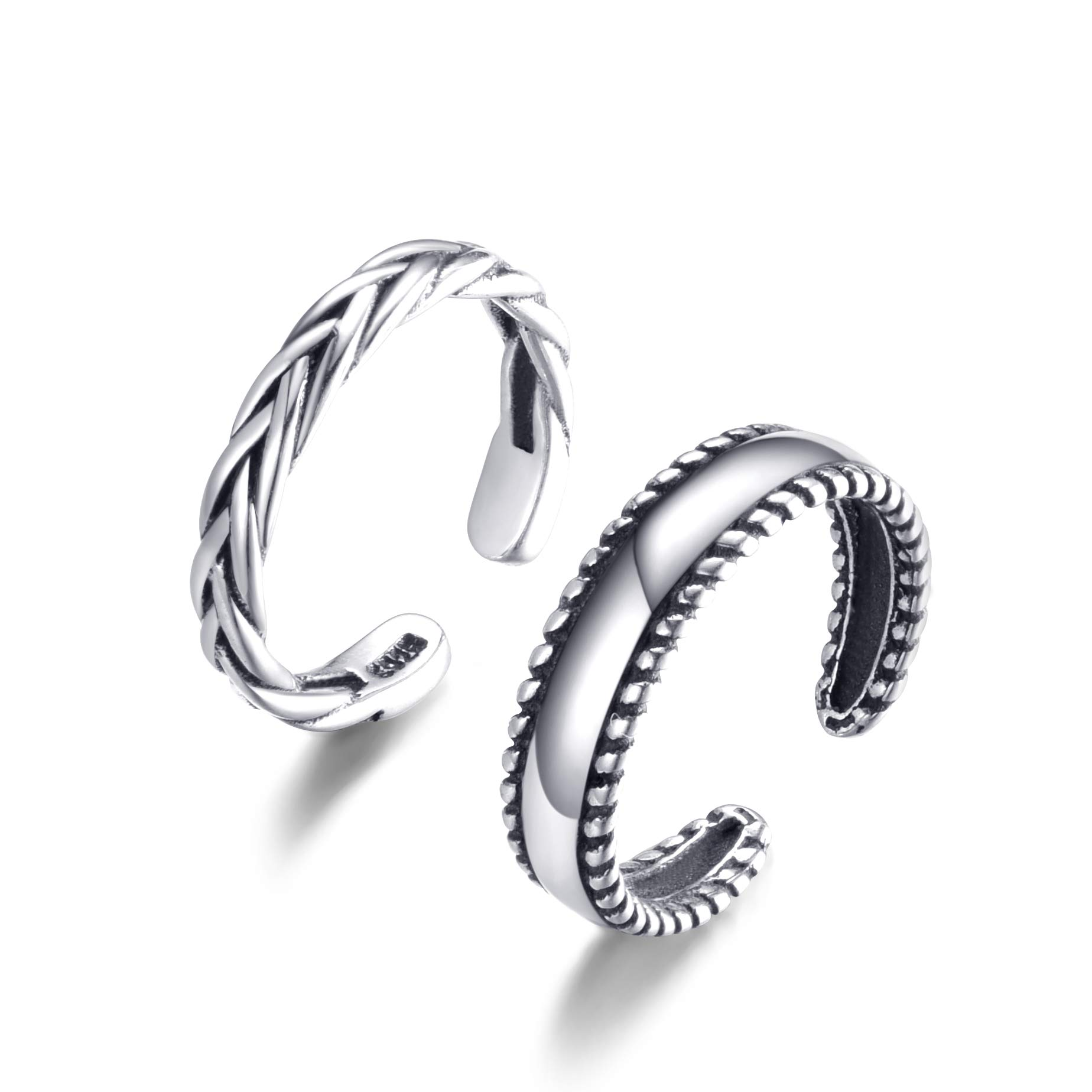 Cladtina 2PCS Sterling Silver Open Adjustable Toe Rings Vintage Braid Rings for Women Girls (Braided Style)