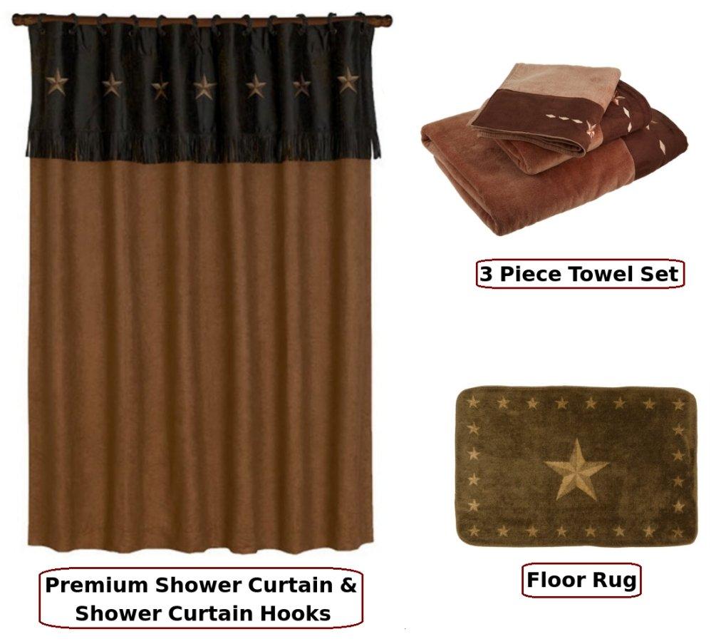 HIE Country & Western Mocha Star Shower Curtain & Bathroom Accessories 17 Piece Set