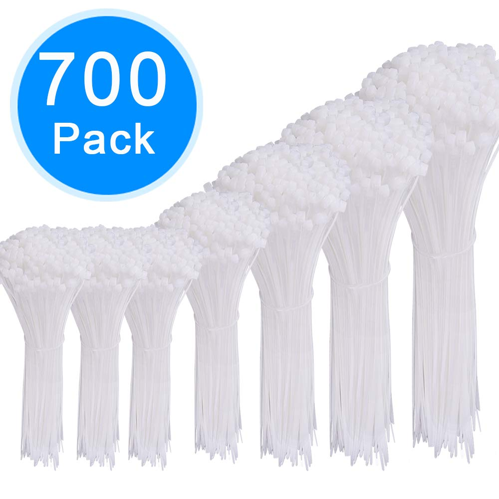 AUSTOR 700 Pieces Zip Ties White Nylon Cable Zip Ties Self Locking Cable Ties in 4/6/ 8/10/ 12 Inches for Home Office Garage and Workshop