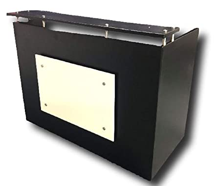 DFS Reception Desk Shell which fits a 15 Monitor – 60 W by 30 D by 44 H Black- and White Front