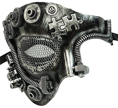 Half Man Half Woman Costume (Steampunk Silver Phantom Half Plaster Mask)
