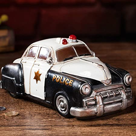 YXXHM- Creative Retro Police Car Piggy Bank Adornos ...