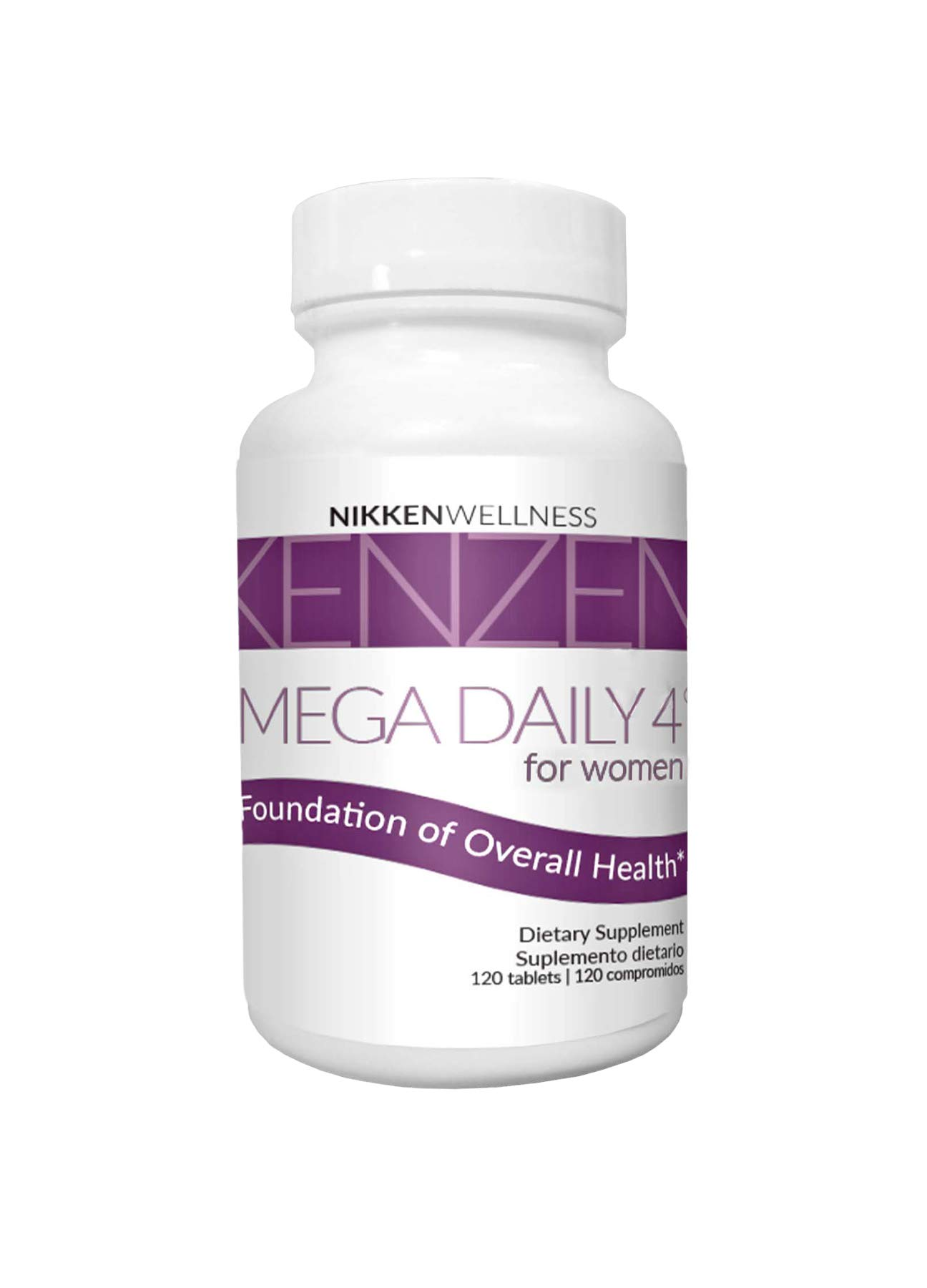 Nikken Kenzen Mega Daily 4 for Women - Water-Soluble and Fat-Soluble Antioxidants - Formulated with Organic Vegetables and Blend of Traditional Herbs Helps Support Healthy Body Function - 120 Tablets