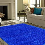 Cheap Lexington Home Solid Shaggy Area Rug Long Pile Soft and Cozy Ultra-Comfortable Shag Rug Solid Royal Blue 5′ x 7′