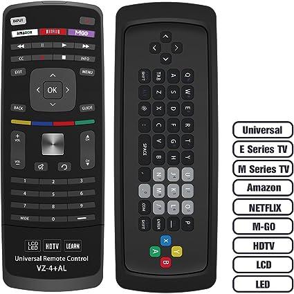 Alkia - Mando a Distancia Universal para TV con Teclado VZ-4, para Casi Todas Las Aplicaciones de Vizio LED LCD Smart E Series TV Smart Internet con Amazon, Netflix y M-GO Keys: