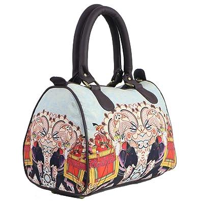 248b1abd9e9a Bangprice Canvas digital printed multipurpose Rajasthani Elephant designer  stylish duffle tote and handbag for Girls Women  Amazon.in  Shoes   Handbags