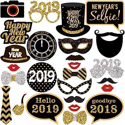 New Years Photo Booth Props– Pack of 27, Real Glitter | 2019 New Years Eve Photobooth Props Decorations | Great for New Years eve Party Supplies 2019 | New Years -