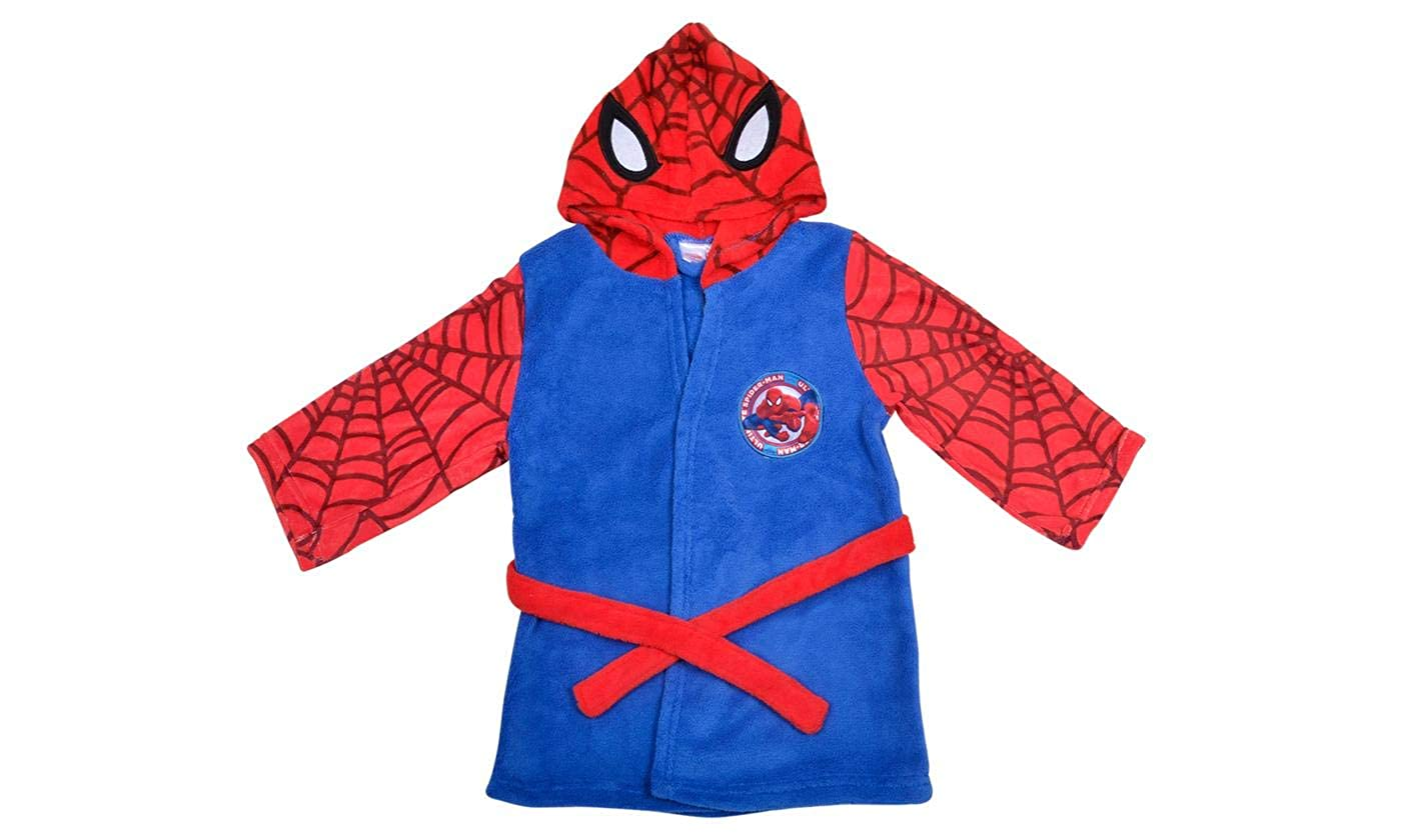 Hero Kids Fleece Hooded Spider Man Bathroom Dressing Gown - Soft Bathrobe for Ages 6-7 Years