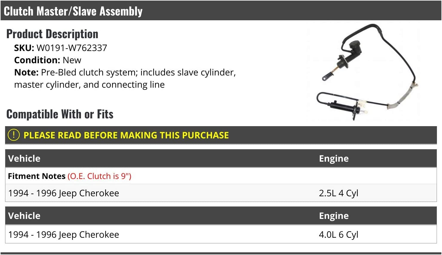 Compatible with 1994-1996 Jeep Cherokee Clutch Master Cylinder with Slave Cylinder Assembly and Connecting Line